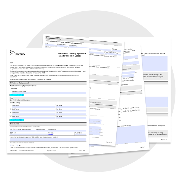 Ontario Standard Lease Form