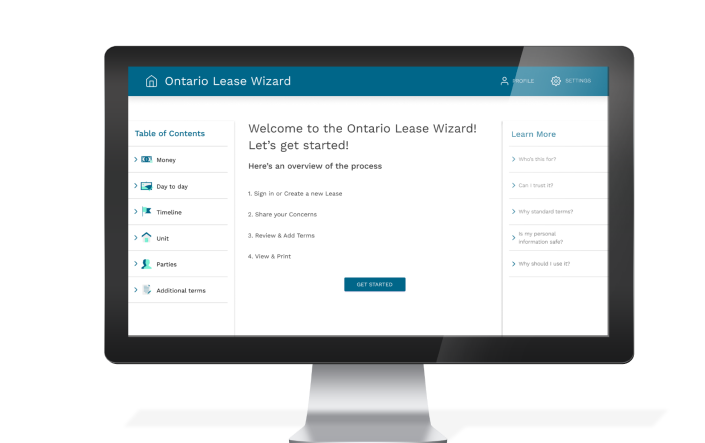 Ontario Lease Wizard mock