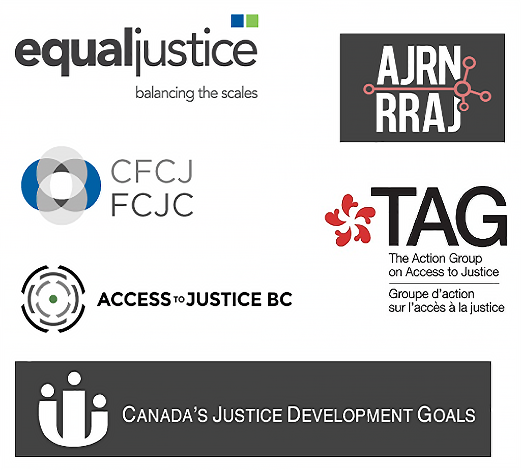 Supporting organisations. Equal justice, Canadian Forum on Civil Justice, Access Justice BC, Access to Justice Research Network, The Access group to access to Justice, Canada's Justice Development Goals
